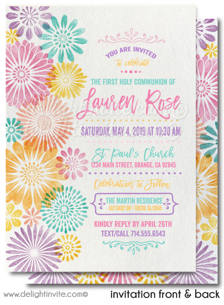 Watercolor Floral First 1st Holy Communion Invitations for Girls