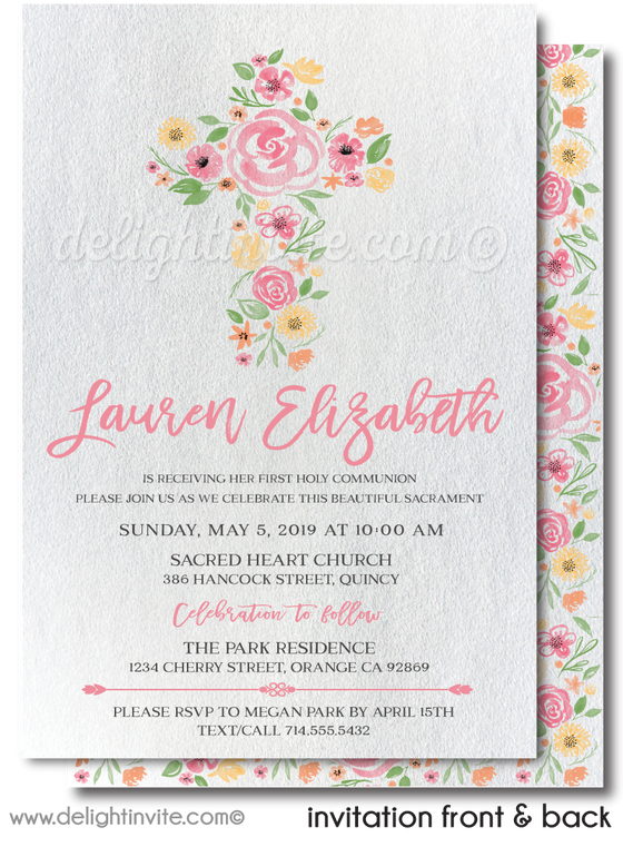Watercolor Flower Cross First Holy Communion Invites for Girls