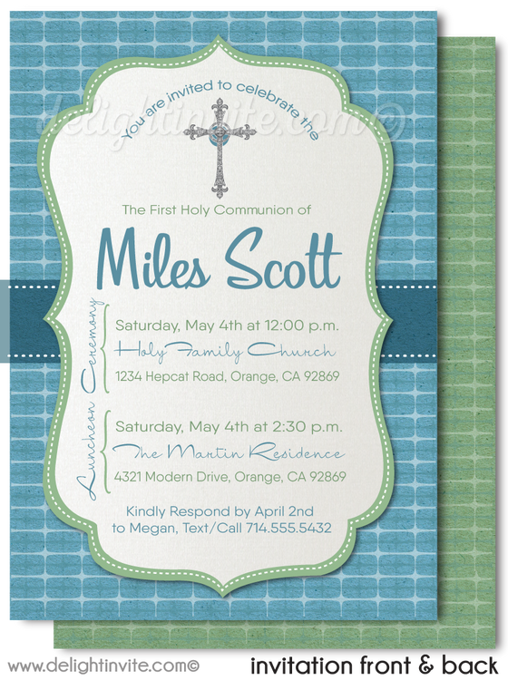 Retro Modern Boy's First 1st Holy Communion Invitation Digital Download
