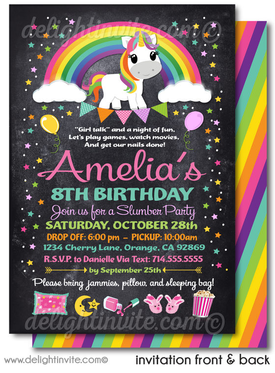 Magical Rainbow Unicorn Slumber Party Sleep Over Birthday Invitations
