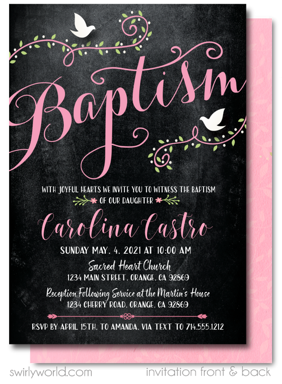 Vintage Pink Doves Girl Floral Baptism Invitation Digital Download