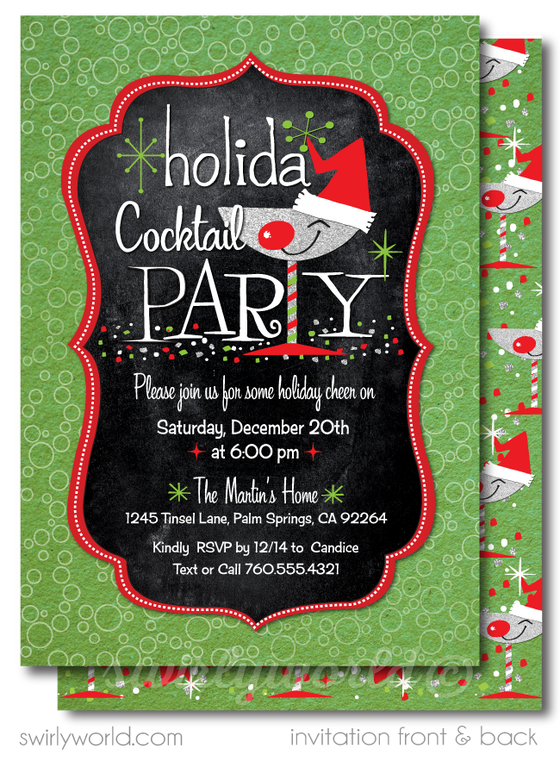 Retro Vintage 1950's Holiday Christmas Cocktail Party Invitations