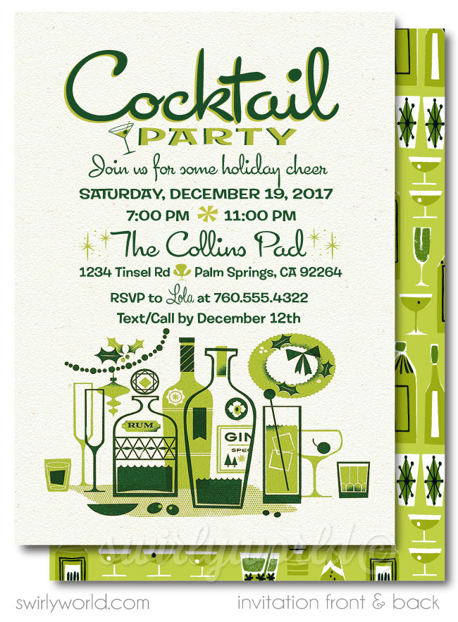 Retro Atomic Mid-Century Modern Holiday Cocktail Party Invitation Digital Downoad