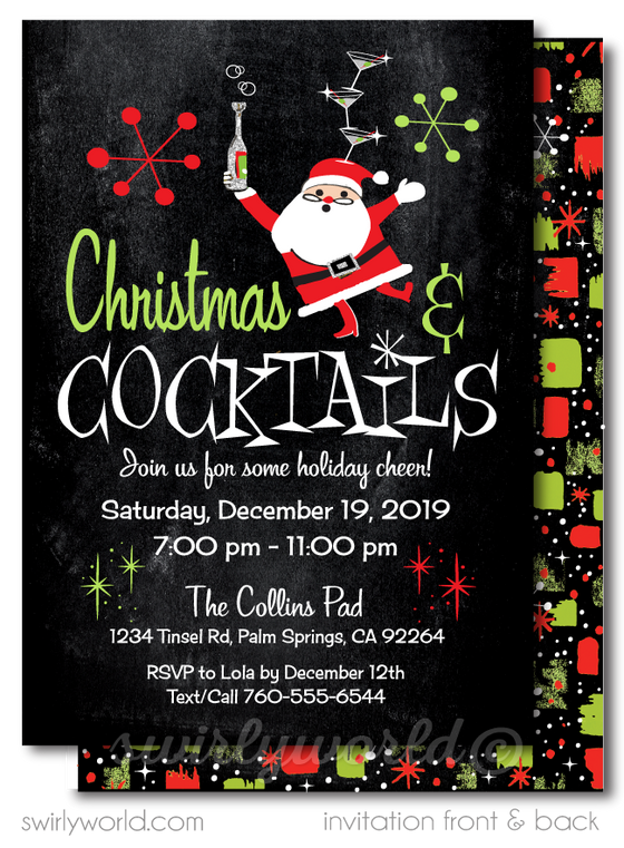 Retro Santa Claus Christmas Cocktail Party Invitations