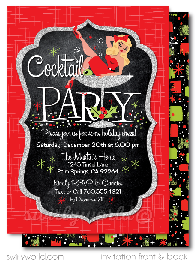Retro Pin-up Rockabilly Christmas 1950's Cocktail Party Invitations