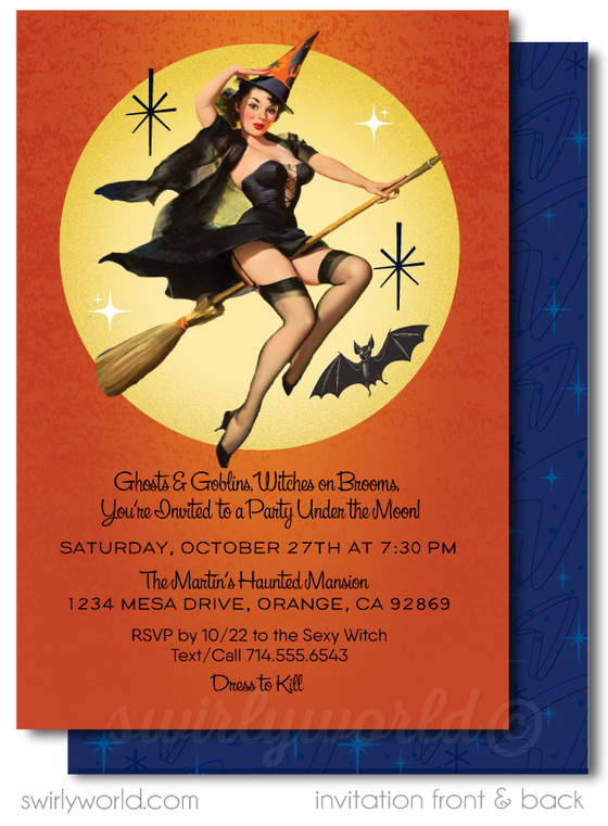 Retro Modern Vintage Pin-up Girl Witch Halloween Party Invitations