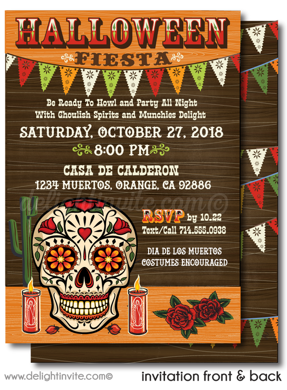 Dia de los Muertos Sugar Skull Halloween party invitation digital evite