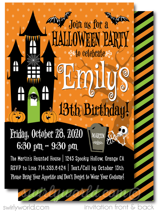 Child-Friendly Non-Scary Cute Halloween Birthday Party Invitation Digital Printable Download