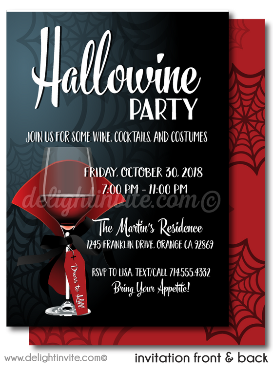 Hallowine Cocktail Halloween Party Invitations