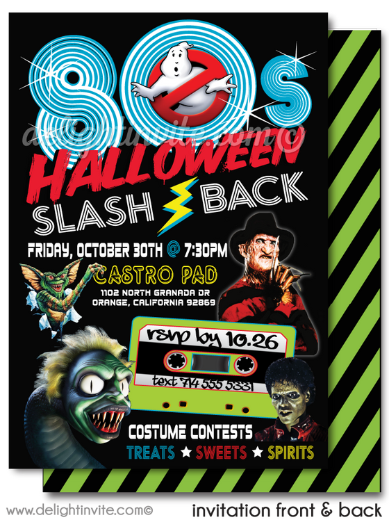 Eighties Flashback Ghostbusters Beatlejuice Thriller Halloween Party Digital Download