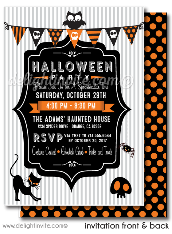 Child-Friendly Non-Scary Kids Halloween Birthday Party Invitation Digital Printable File Download