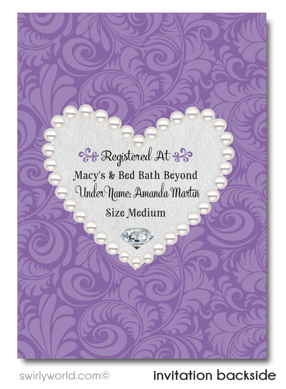 Gorgeous Purple Diamonds and Pearls Formal Brunch Bridal Shower Invitation Digital Download