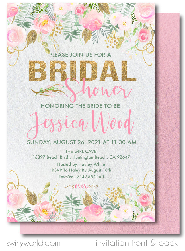 Beautiful Floral Gold and Blush Pink Roses Bridal Shower Invitation Digital Download