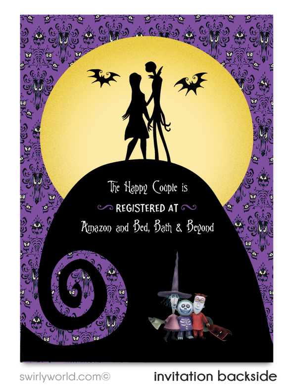 Nightmare Before Christmas Jack and Sally Couples' Bridal Shower Invitations