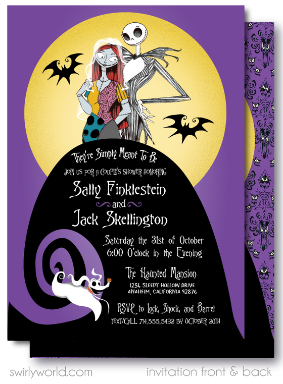Nightmare Before Christmas Jack and Sally Couples' Bridal Shower Invitation Digital Download