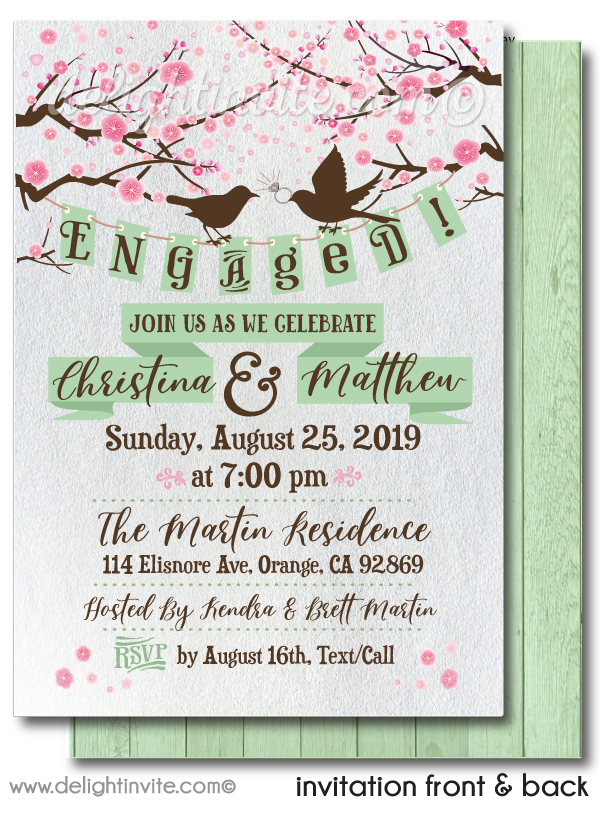 Rustic Engagement Party Invitations, Love Birds Engagement Invites, Romantic Cherry Blossom Engagement Party Invitations