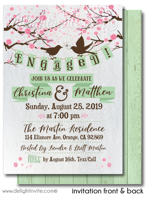 Rustic Wood Love Birds Cherry Blossom Trees Party Engagement Party Invitation