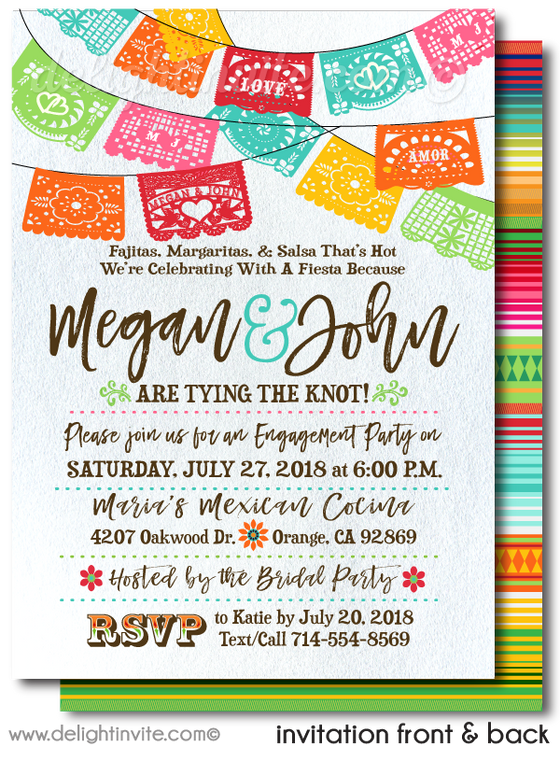 Mexican Fiesta Paper Flags Engagement Party Invitations