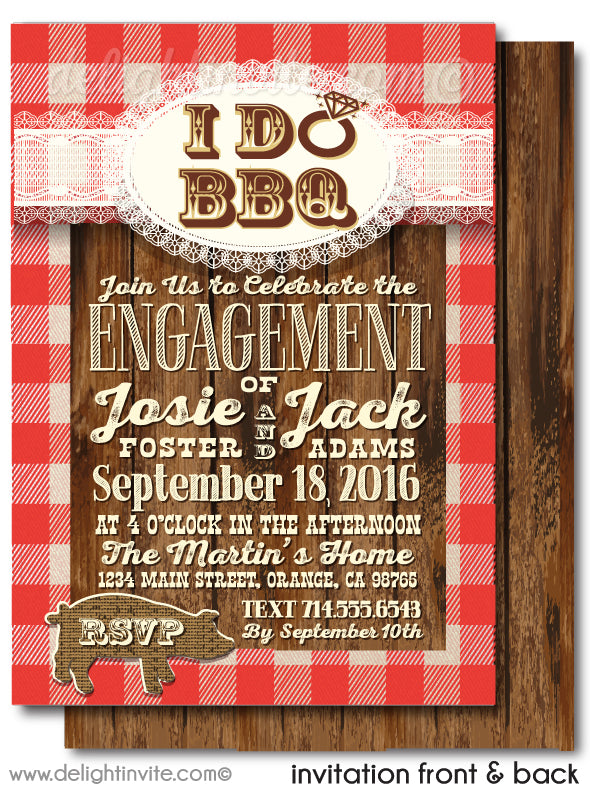 "Rustic Country Western ""I Do"" BBQ Wedding Engagement Party Invitation Digital Download"