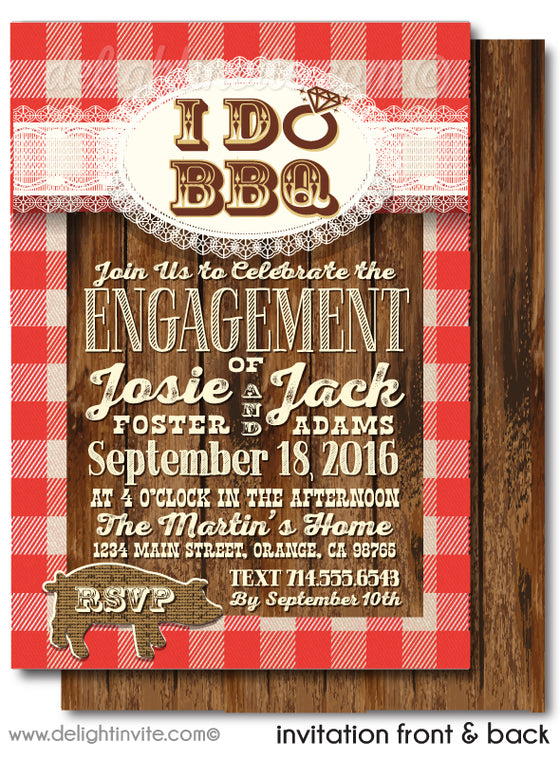 """I Do BBQ"" Red Checkered Backyard Engagement Party Invitations"