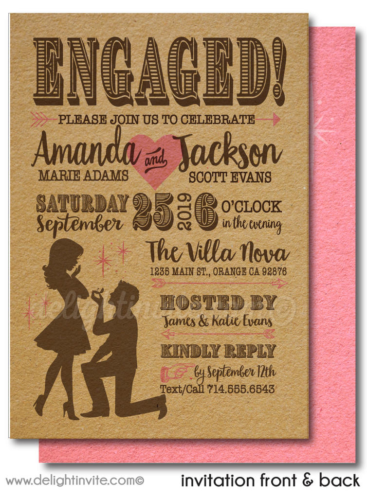 Cute Pink Retro Modern Engagement Party Invitation Digital Download