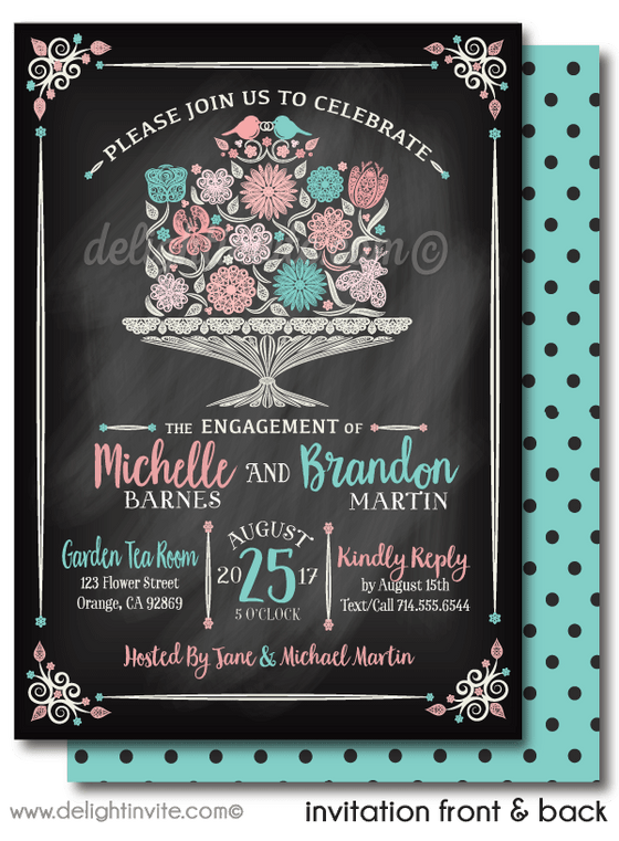 Vintage Cake Love Birds Romantic Engagement Party Invitation Digital Download