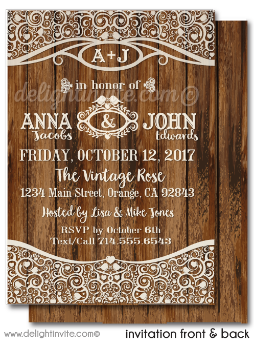 Elegant Rustic Wood Wine Party Engagement Party Invitation