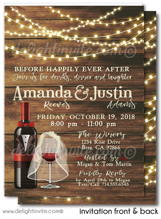 Elegant Wine Party Engagement Party Invitations