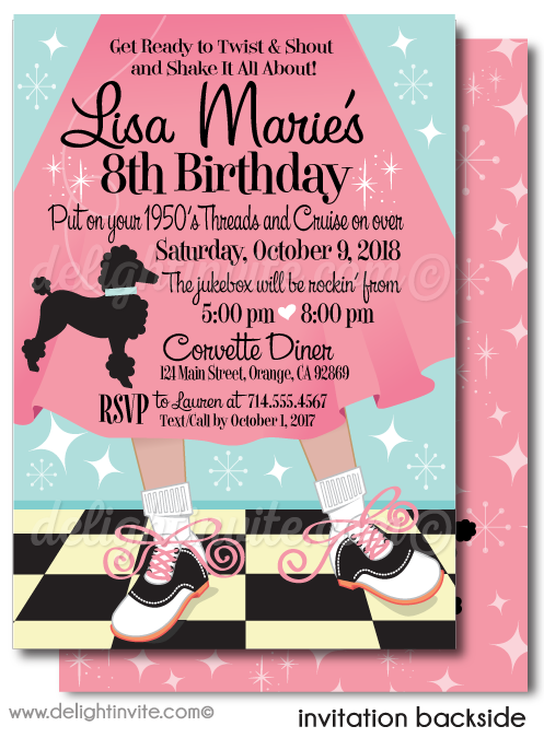 Retro 1950s Grease Poodle Skirt Sock Hop Fifties Birthday Party Invitation Envelopes