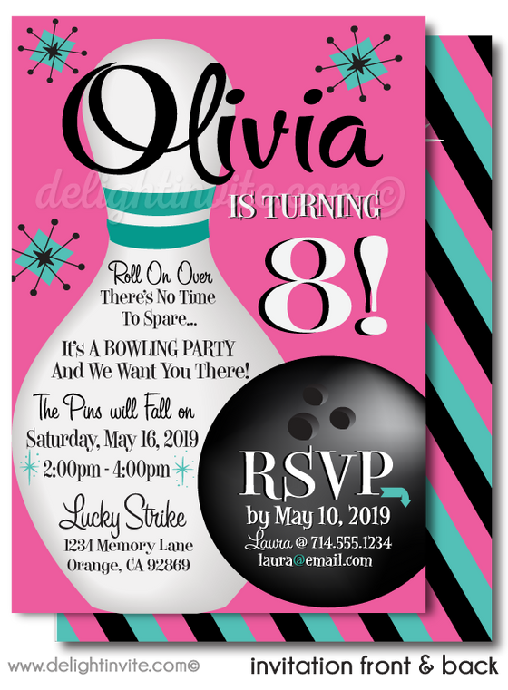 Strike Out Retro Pink and Turquoise Bowling Birthday Party Invitations for Girls