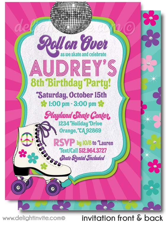 Retro Girl Pink Disco Roller Skate Rink Printed Birthday Invitations.