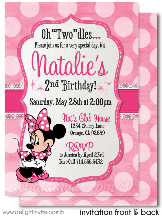 Retro Pink Polkadot Classic Minnie Mouse Birthday Party Invitation Digital Download