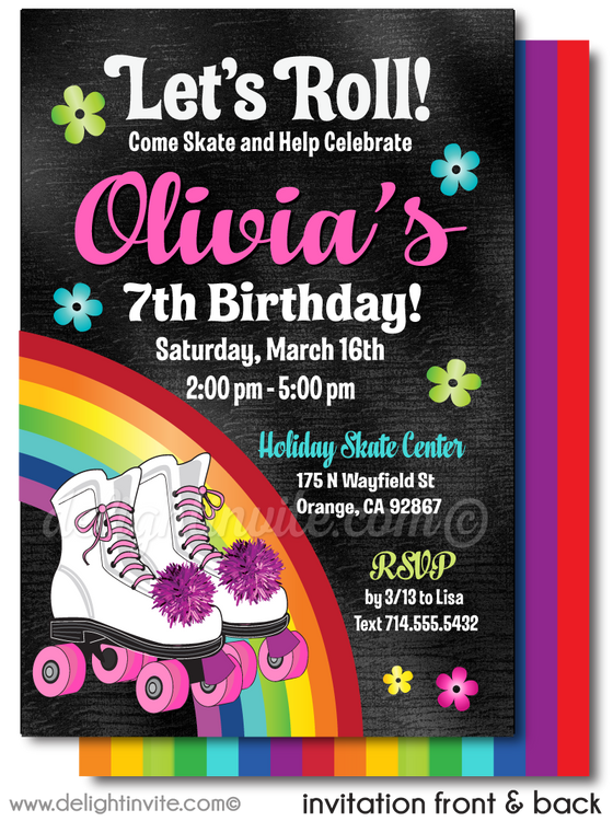 Retro Rainbow Roller-Skate Rollerskating Printed Birthday Invitations