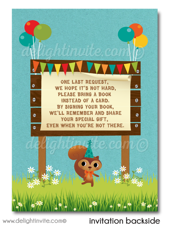 Rustic Woodland Baby Forest Animals First Birthday Party Invitation Digital Download