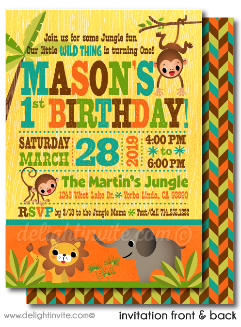 Jungle Safari 1st Birthday Invitations