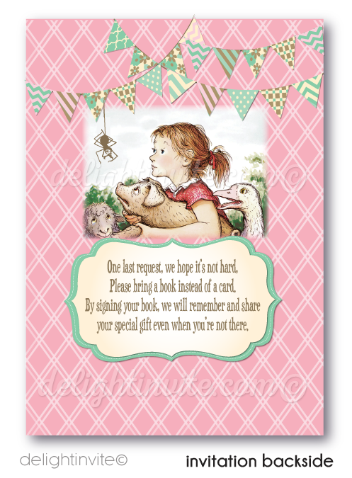 Vintage Charlotte's Web Girl 1st Birthday Invitations