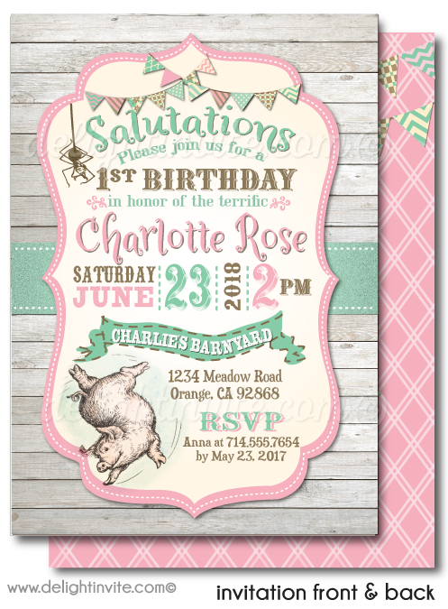 Vintage Charlotte's Web Girl Barnyard 1st Birthday Party Invitations