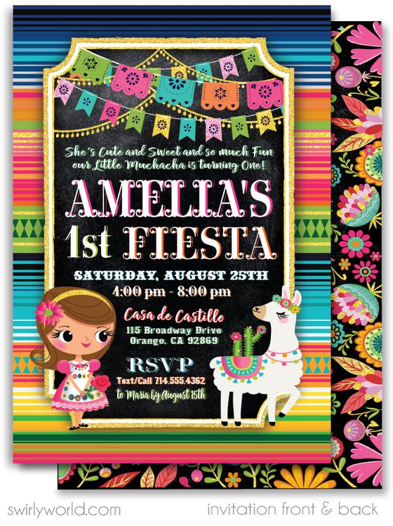 Papel Picado Mexican Fiesta Little Muchaha Senorita 1st Birthday Invitations