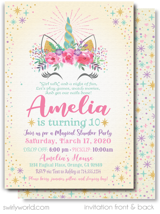 Pastel Colors Magical Unicorn Slumber Party Sleepover Birthday Invitations