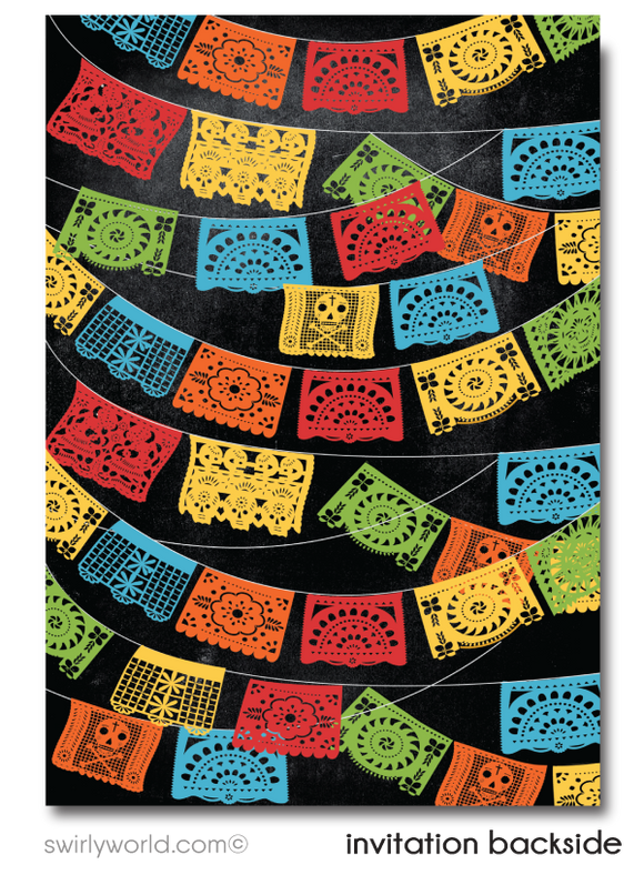 Papel Picado Paper Flags Fiesta Boy 1st First Holy Communion Invitation Digital Download