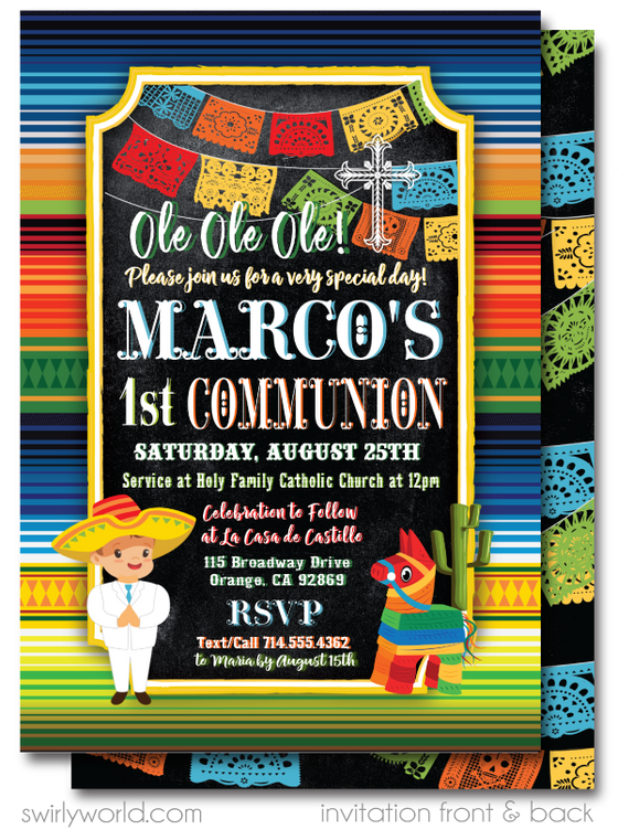 Mexican Fiesta 1st  First Holy Communion Invitations for Boys