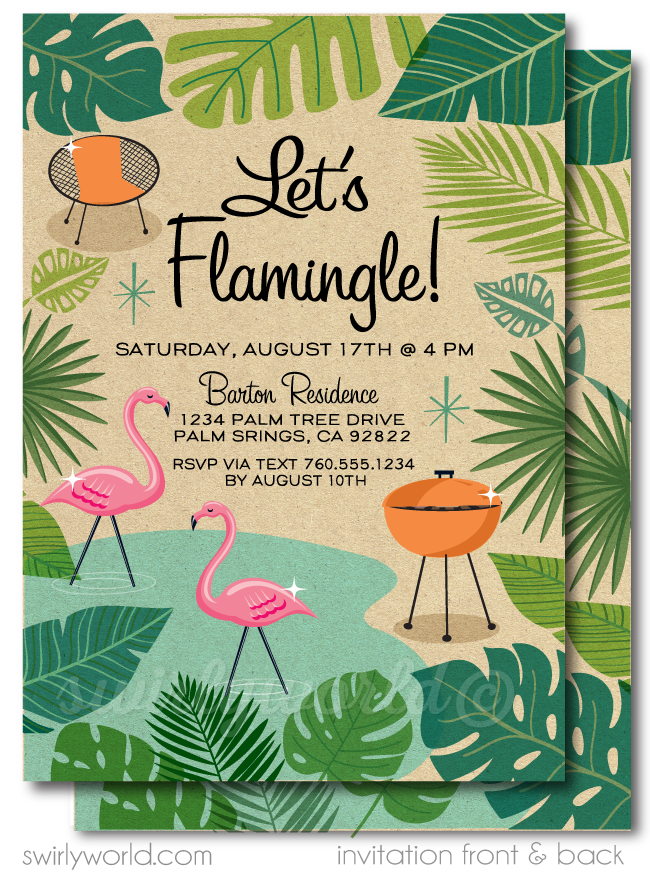 "Retro Modern Palm Springs Mid Century Modern ""Let's Flamingle"" Digital Party Invitation Download"