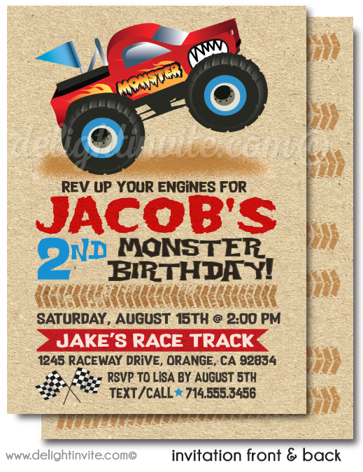 Awesome Monster Truck Race Birthday Party Invitation Digital Download