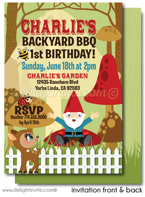 first birthday party invitation in backyard. Outdoor birthday party theme. Barbeque birthday party.