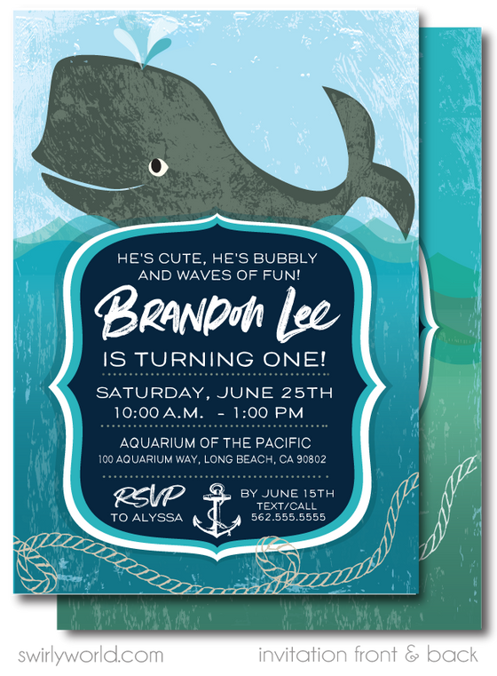 Nautical Baby Whale Under the Sea Printed 1st Birthday Invitations