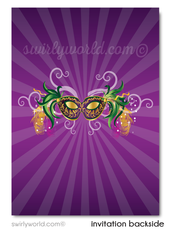Sweet 16 Mardi Gras New Orleans Masquerade Party Invitations
