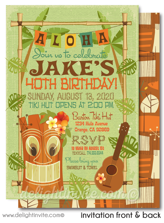 Retro Mid-Century Modern Hawaiian Tiki Luau Party 40th Birthday Printed Invitations
