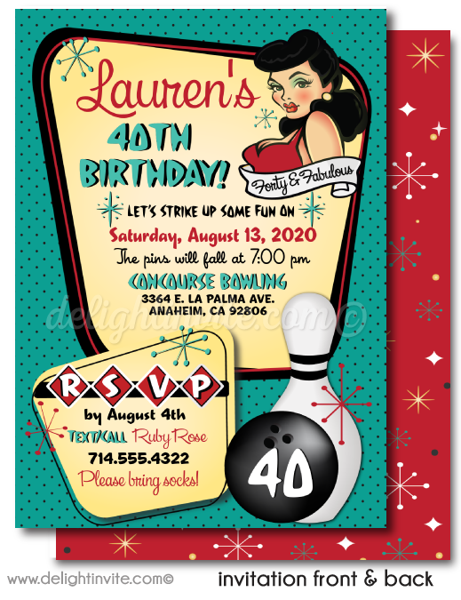 Rockabilly Pin-up Girl Retro Bowling Birthday Party Printed Invitations.