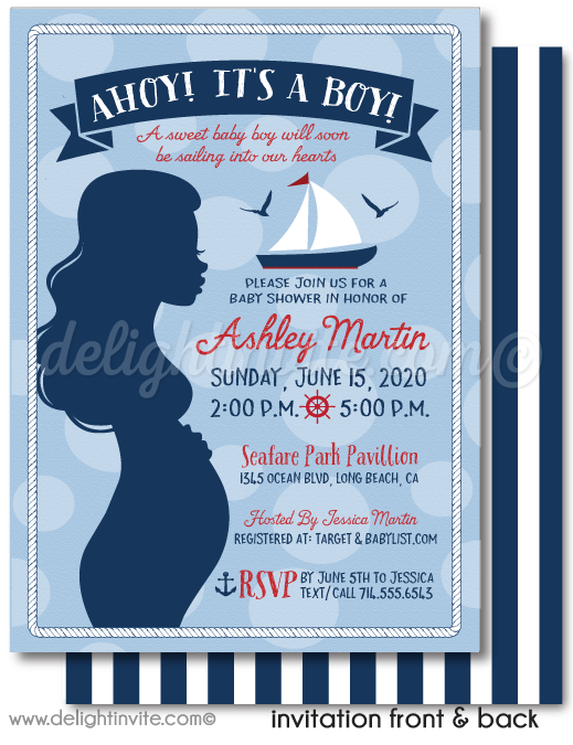 "Nautical Theme ""Ahoy It's A Boy"" Sailboat Baby Shower Digital Invite & Thank You Card. Navy Blue and Red Sailboat Anchor Baby Shower Invitation."