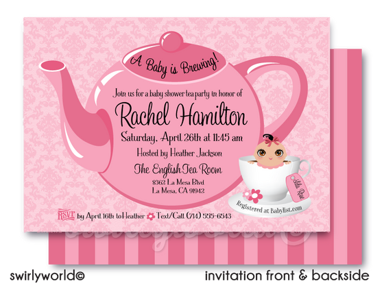 "Pink and White ""It's a Girl"" Tea Party Baby Shower Digital Invite & Thank You Card Digital Download Bundle"